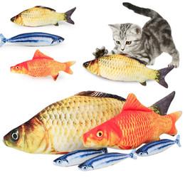 2019 cuscino giocattolo gatto Simulazione Peluche Cat Fish Toys Divertente Pesce Gatto Cuscino Peluche Gatto Pesce Cotone Giocattolo per animali domestici IC744 cuscino giocattolo gatto economici