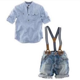 Wholesale Boys 24 Months Jeans - Boys Clothes Long Sleeve Shirt Bibi Pants Kids Clothes Boys Set 3pcs Children Set Boys Clothes Fashion Long Denim Pants Jeans