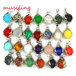 Wholesale Pendulum Mix - 2016 Jewelry New Pendulum Hands Ball Bead Silver Plated Natural Gem Stone Pendant Charms Amulet European Fashion Men Jewelry 27X Mix Order