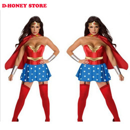 Wholesale Cartoons Characters Costumes - Halloween Costumes for Women Wonder Woman Costume Adult Sexy Dress Cartoon Character Costumes Clothing halloween costumes for women