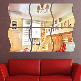 Wholesale Wall Art Decals For Nursery - 2017 New Dressing Room Mirror Stickers Home 3D Stereo Wall Stickers Decorative Wave Adventure Mirror Bedroom Living Room Accessories Sticker