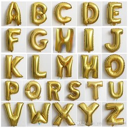 Wholesale Wholesale Halloween Inflatables - Gold Silver 16inch Alphabet English Letter A-Z Inflatable Aluminum Balloons Birthday Wedding Party Decoration Christmas Foil Balloon