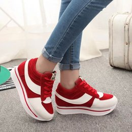 Wholesale Ladies Patchwork Shoes - Spring Autumn Lace Up Fashion Ladies Girls Sneakers Single Casual Shoes Female Korean Type Sponge Thick Soles Sports Shoes 35-39