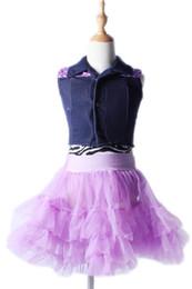 Wholesale Kids Performance Vest - Dancewear dance dresses girls for kids ballet dress for children female ballet skirt denim vest two-piece dress stage performance 2046