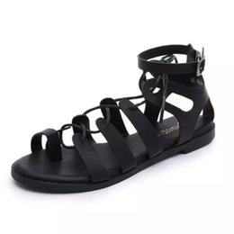 2019 sandálias planas Womens Lace Up Camurça Cut Out Sandálias De Verão Tie Up Ghillie Sandálias Flat Sapatos Rasos sandálias planas barato