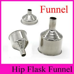 Wholesale Drink Funnel - Portable Funnel for Hip Flasks Stainless Steel Filling Funnel for Oil Bottles Hopper Drinking Vessel Infundibulum Whisky Flagon Funnels Oil