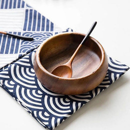 Wholesale Table Cloths White Linen - Classic Japan Style Dark Blue and White Pattern Sea Wave Cotton Linen Cloth Table Mat Restaurant Cup Bowl Pad ZA4608
