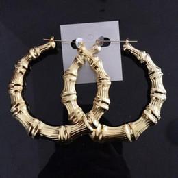Wholesale Golden Bamboo Earrings - 10Pairs Mix Lot Large Bamboo Joint Hoop Earrings Hip-Hop Golden Ladies Big Circle Hoop Studs Street Dance Club Stud Earrings