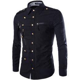 Wholesale Shirt Slim Fit Pocket - New Arrival Spring Autumn Men Long Sleeve Cargo Shirt Casual Slim Fit Fashion Epaulet Double Pocket Mens Business Dress Shirts