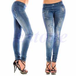Wholesale Wholesale Jean Leggings - Wholesale- Fashion Sexy Lady Women Jean Skinny Jeggings Stretchy Leggings Skinny Slim Pants-448E