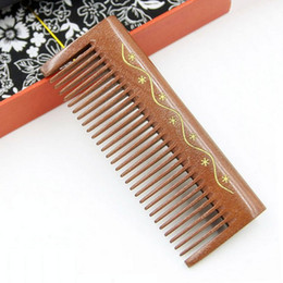 Wholesale Carve Wooden Comb - Wood Comb Handmade Natural Red Sandalwood Wooden Carving Handleless Hair Comb Brush Anti Static Hair loss Massage Hair Health Care Brush