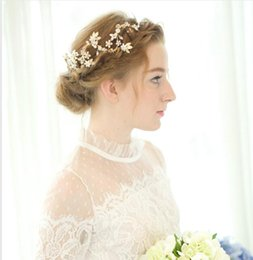 Wholesale Make Wedding Headpieces - 2016 Beaded Hair Jewelry Bridal Headpieces Wedding Accessories Gold Headbands Hairwear Sexy Real Image Cheap Modest Hand Made In Stock