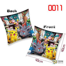 Wholesale Cotton Polyester Pocket Square - 40*40cm Pikachu figures printng cushion Soft Stuffed Animal doll pillow Cute Cartoon Pocket monster square Cushion Home & Garden Pillow