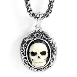 Acciaio ciondolo testa cranio online-Collana con pendente a forma di testa di scheletro di teschio in osso in acciaio inossidabile Avivahc 69