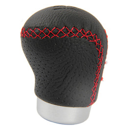 Wholesale Red Shifter Knob - Black Leather Red Stitched Car Gear Shift Knob Shifter Lever Universal Fit for Manual Transmission Drive