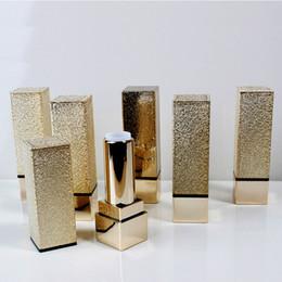Wholesale Empty Plastic Lipstick Tubes - Gold Luxury Empty High Quality Square Shape Plastic Lipstick Tube Lipstick Gloss Container DIY Lipstick Lip Balm Tube