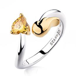Wholesale Gold Rhinestone Wings Ring - 2016 Gold Gemstone Rings 18K Real Gold Plated Heart Wings Brand Rings Women Wedding Rings Austrian Diamond Rings