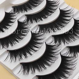 Wholesale semi slim - G107 Black Thick False Eyelashes Photo Studio Makeup Eyelash Natural False Eyelashes Dovetail Slim Messy Cross Eyelashes