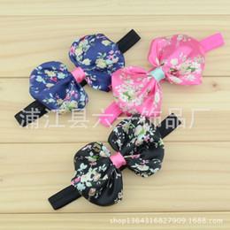 Accessoires cheveux bébé filles chine en Ligne-Impression Chine floral SATIN BOW CEINTURE vent fille Bébé Bandeau enfants cheveux accessoires livraison gratuite