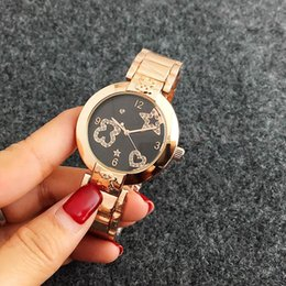 Wholesale Glass Cartoon - 2017 New Hot Colorful Design Fashion Luxury Women Cartoon Lady Dress Quartz Bear Watch Ladies Wristwatch Feminino Montre Femme Reloj Mujer