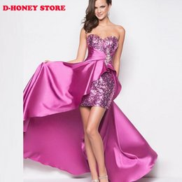 Wholesale elegant women night dress - Silver red Evening Dress 2016 Short Front Long Back Elegant Evening Gowns Formal Dresses Plus Size Custom Made robe de soiree cocktail dress