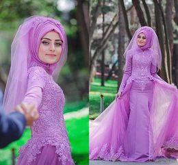 Wholesale islamic t shirts - 2016 New High Neck Long Lilac Lace Islamic for Women Abaya in Dubai Abaya Kaftan Muslim Arabic Overskirt Evening Dresses Party Prom Gowns