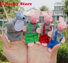 Wholesale 24 Pig Doll - 4 pcs lot Baby Plush Toy finger Puppet toy Tell Story Props Animal Doll  Kids Toys  Children Gift plush pigs Toys