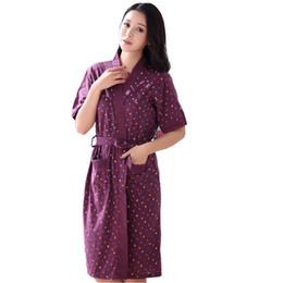 Wholesale Womens Cotton Pajamas - Wholesale- Hot Sale Summer Lady Pajamas Bath Robe Sleepwear Womens Robes Knitted Cotton Bathrobes Women Summer Homewear