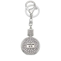 Wholesale Perfume Gift Bags - 2016 Fashion Rhinestone Perfume Bottle Keychain novelty trinket key chain holder women bag&car Accessories Souvenir gifts