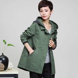 Wholesale Hooded Outwear Women - 2017 New Autumn Winter Women Cotton Trench Coat Medium Long Elegant Hooded Outwear Causal Loose Windbreaker Plus Size