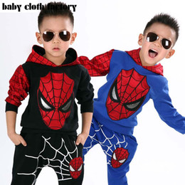 Wholesale Set Boy Spiderman - Marvel Comic Classic Spiderman Child Costume Sports suit 2 pieces set Tracksuits Kids Clothing sets Coat+Pant for 2-8y