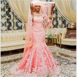 Wholesale Muslim Woman Beach - 2016 Muslim Wedding Dresses Pink Lace Applique Sequined Three Quarter Sleeve Mermaid Tulle Dubai Arabic Women Long Bridal Gowns
