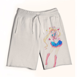 Wholesale Green Sailor Shorts - 2 Styles Real USA size white Sailor Moon 3D Sublimation print custom made men fifth & seventh legnth shorts with string Plus Size