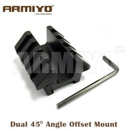 Wholesale Weaver Picatinny Offset - Armiyo Dual 45 Degree Angle Offset Double Side Mount Adapter 46mm Length With 20mm Picatinny Weaver Rail Hunting