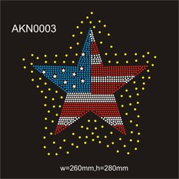 "Wholesale Flags Images - The USA national Star flag Hot fix rhinestone image transfer 10.2""wX11""h custom servise team 30piece"