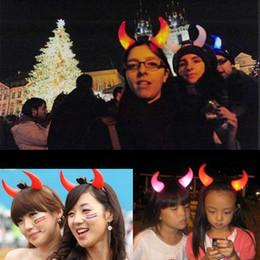 Wholesale Ox Bag - LED Ox Horn LED Party Headwear Flashing LED Hair Clasp Headband Xmas Christmas Birthday Gift Concert Hallowmas Devil horns with OPP Bag