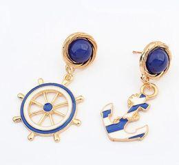 Wholesale Enamel Anchor Jewelry - New Fashion Jewelry Brincos Gold plated Anchor Rudder drop Earrings Enamels Blue Earring For Women Asymmetry earring charm CC616