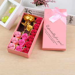 Wholesale Gold Foil Gifts - Gold Foil Rose Flower Wedding Decoration Articles Creative Birthday Present For Lady Manual Soap Flower Gift Box 10my C R