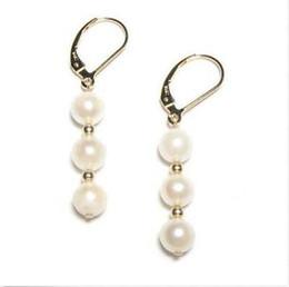Wholesale South Sea Pearls Singapore - AAA 10-9MM south sea white pearl earrings 14K