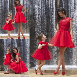 Wholesale Miss Mes - Red Mother and daughter dresses mini me short tulle cocktail dresses ball gown cap sleeves backless girls homecoming party gowns BA2299