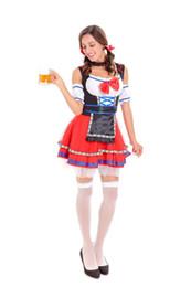 Wholesale Beer Maid Dress - Women Halloween Maid Cosplay Costume German Beer Girl Oktoberfest Dress Sexy Bavarian Style Mini Tutu Dress