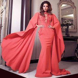 Wholesale Ladies Dress Embroidery - Water Melon High Neck Arabic Dubai Middle East Puffy Sleeves Embroidery Mermaid Evening Dress Vestido De Festa Longo Lady Prom Dresses