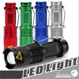 Wholesale focus led lights - 5 Colors Flash Light 7W 300LM CREE Q5 LED Camping Flashlight Torch Adjustable Focus Zoom waterproof flashlights Lamp