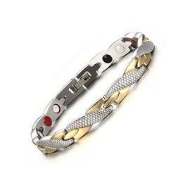 Wholesale Gold Bracelets For Health - Brand New Men's Stainless Steel Link Chain Bracelet Health Care Material For Men's Fashion Jewelry