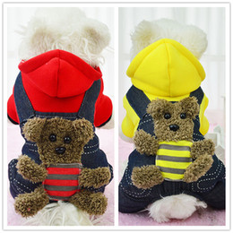 Wholesale Jeans Jacket Wear - Hot Winter Dog Coats Cotton Jeans Soft Wear Autumn Jackets With Cap Chihuahua Pets Cosplay Small Dog Accessories Free Shipping