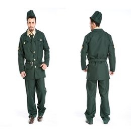 Wholesale Military Cosplay - Sexy Army soldier Costumes Men Halloween Costumes military officer Cosplay men party dress colonel Uniform Role Play