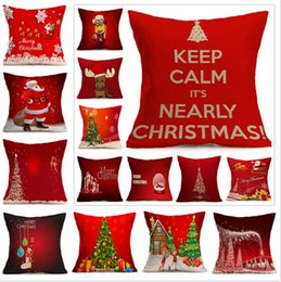 Wholesale Snowflake Cushions - Merry Christmas Cushion Cover Festiva Pattern Pillow Case Snowflake Reindeer Elk Tree Hat Cushion Covers Decorative Linen Red Pillowcase DHL