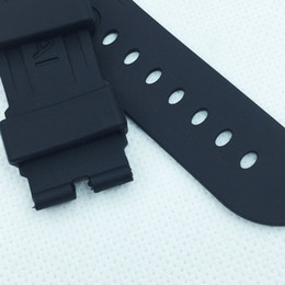 Wholesale Silicone Rubber Band Watches - 24mm 115mm 75mm fashion Black Silicone Rubber Water proof PAM Band Strap for PAM LUNMINOR RADIOMIR Watch