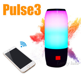 Wholesale Sound For Iphone - PULSE3 New LED Bluetooth speaker music Colorful wireless sound waterproof double subwoofer U disk card FM for samsung s7 s8 iphone 8