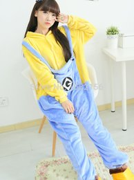 Wholesale Despicable Costumes - ostumes Accessories Cosplay Costumes Winter Adult Despicable Me Minion Onesie Cosplay Costume Adult Minion Pajamas Christmas Sleepwear Ho...